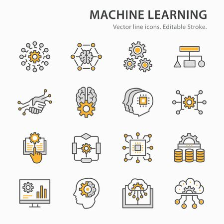 Machine learning icons icons, such as algorithm, artificial intelligence, digital business, automated system and more. Editable stroke.