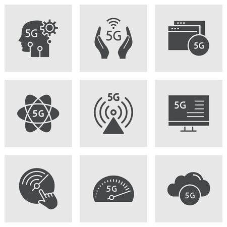 5g icon set. Black vector illustrations isolated on white.