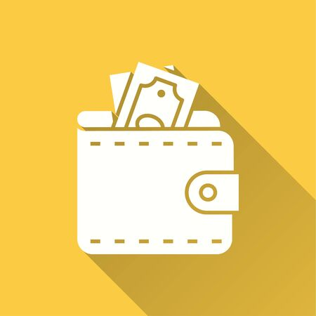 Wallet icon. Simple illustration with long shadow isolated for graphic and web design. Иллюстрация