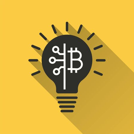 Blockchain icon. Simple illustration with long shadow isolated for graphic and web design. Stock fotó - 133700525