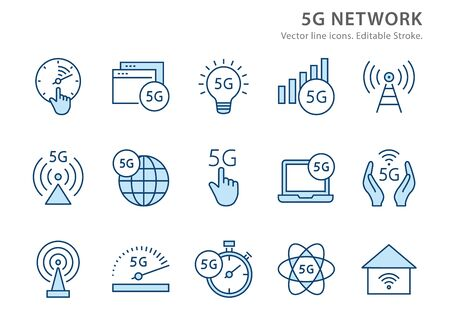 5g network icons, such as signal, wifi, antenna, radio, and more. Vector illustration isolated on white. Editable stroke.  イラスト・ベクター素材