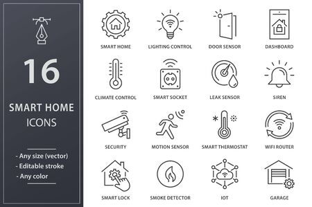 Set of smart home icons, such as climate control, security, iot, camera and more. Editable stroke.