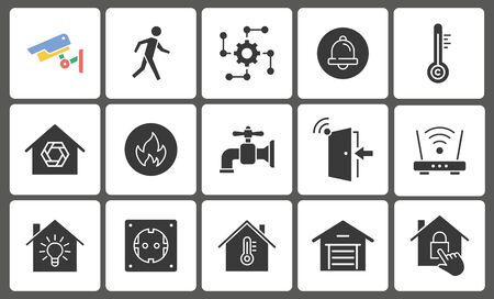 Smart home icon set. Black vector illustrations isolated on white. Foto de archivo - 138472460