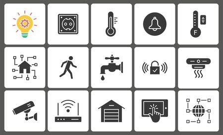 Smart home icon set. Black vector illustrations isolated on white. Foto de archivo - 138472461
