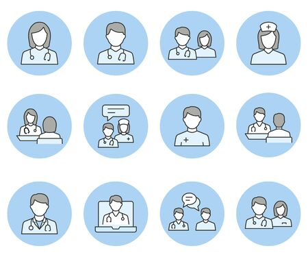 Doctor and Nurse line icons. Illustration isolated on black background for graphic and web design.