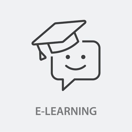 E-learning education line icon. Vector illustration on white background.