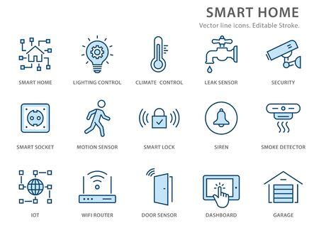 Icônes de maison intelligente, telles que sécurité, garage, routeur wifi, automatisation et plus encore. Illustration vectorielle isolée sur blanc. Trait modifiable.