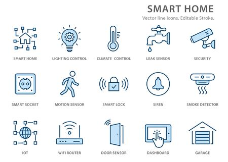 Smart home icons, such as security, garage, wifi router, automation and more. Vector illustration isolated on white. Editable stroke.