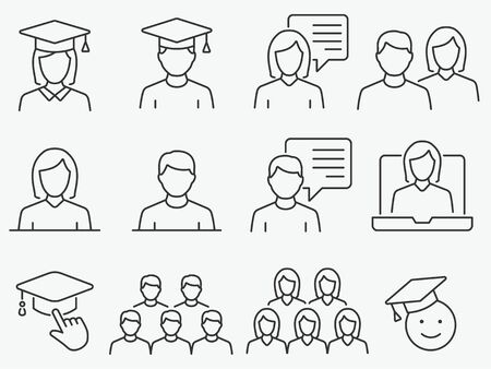 Set of student icons, such as education, group, webinar, academic and more. Editable stroke.