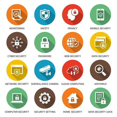 Security icons. Simple illustrations with long shadow isolated for graphic and web design.
