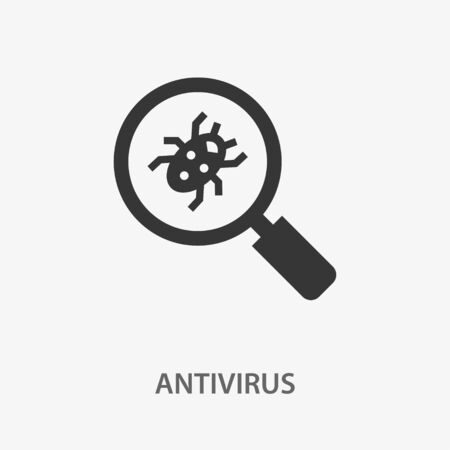 Antivirus icon. Black vector illustration isolated on white.