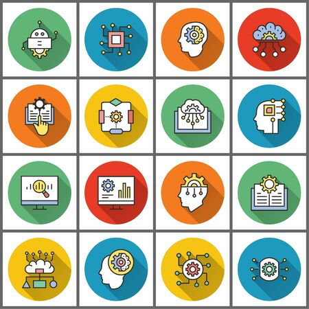 Machine learning icons. Simple flat illustration with long shadow isolated for graphic and web design. 向量圖像