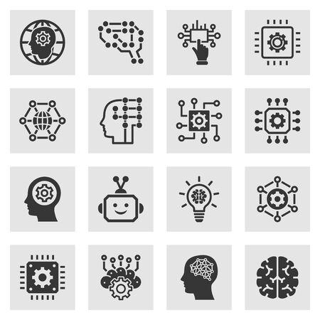 Symbole für künstliche Intelligenz. Set aus Gehirn, Roboter, AI, Kopf, Innovation und mehr.