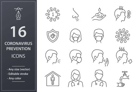 Coronavirus icons, such as symptoms, bacteria, cough, infection and more. Editable stroke.