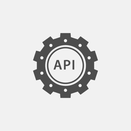 API icon. Black vector illustration isolated on white.