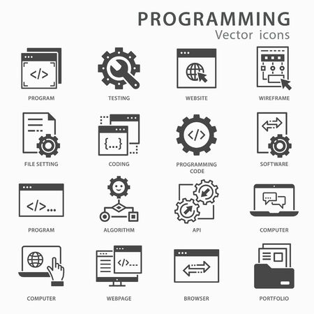 Programming icon set. Software, coding, application development vector illustration isolated on white.