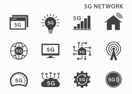 5g technology icon icons set. Vector illustration for web sites and mobile application. Vektorgrafik