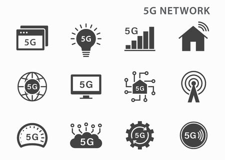 5g technology icon icons set. Vector illustration for web sites and mobile application. Vektorové ilustrace
