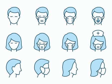 Homme et femme dans les icônes de masque médical. Illustration vectorielle isolée sur blanc. Trait modifiable.
