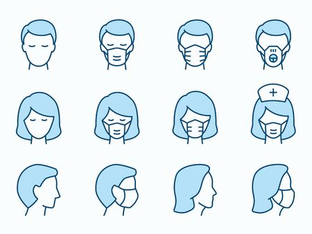 Man and Woman in medical mask icons. Vector illustration isolated on white. Editable stroke.