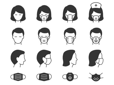 Man and Woman in medical mask icons. Vector illustrations on white.