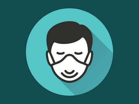 Man in medical face mask icon. Simple illustration with long shadow isolated for graphic and web design.