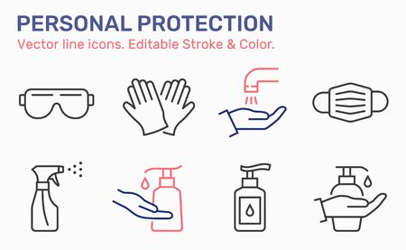 Personal protection icons. Disinfect, antibacterial gel, goggles, gloves, spray bottle vector illustrations. Editable stroke.