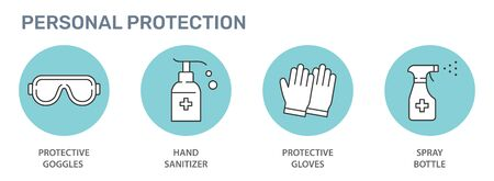 Personal protection icons. Disinfect, antibacterial gel, goggles, gloves, spray bottle vector illustrations.