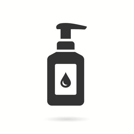 Hand sanitizer icon. Black vector illustration isolated on white.