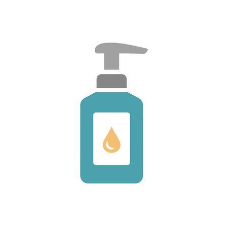 Hand sanitizer icon. Flat vector illustration isolated on white. Çizim