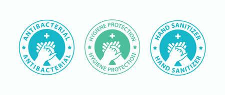 Hand gel sanitizer icons. Antiseptic label. Vector illustration. Illusztráció
