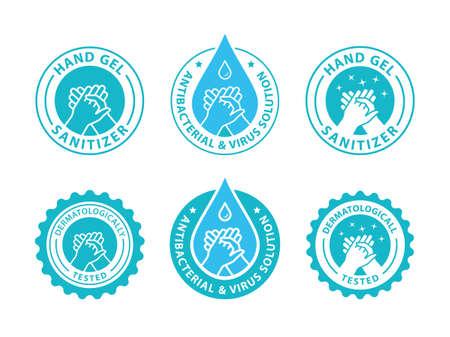 Hand gel sanitizer logo. Antiseptic label. Vector illustration. Illusztráció
