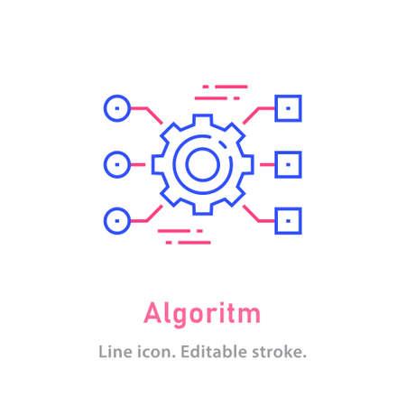 Algorithm outline icon on white background. Editable stroke. Vector illustration.