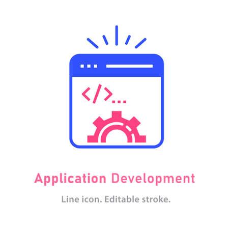 Application development icon on white background. 向量圖像