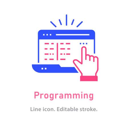 Programming icon on white background. Editable stroke.