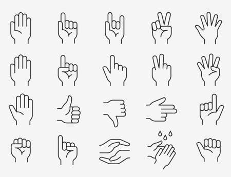 Hands line icons set. Black vector illustration. Editable stroke. Vektorgrafik
