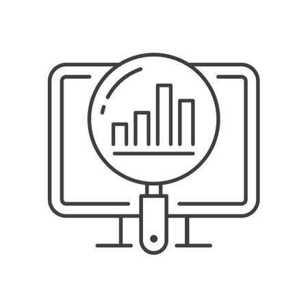 Analytics line icon. Vector illustration. Symbol of business Intelligence, data analysis, marketing research. Vecteurs