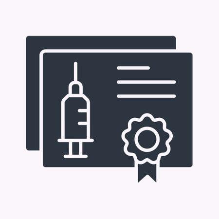 Vaccine passport glyph icon. Vector illustration isolated on white.