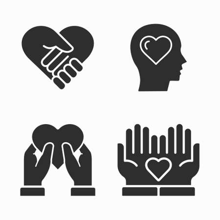 Charity and volunteer icons set. Vector illustration on white. Vector Illustration