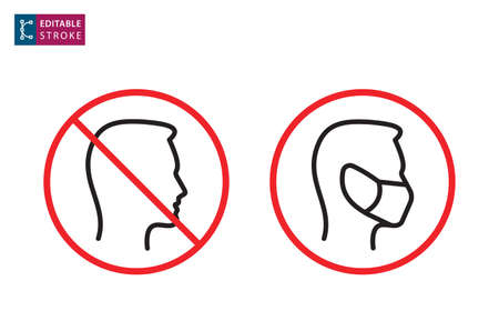 No entry without face mask icon. Editable stroke.
