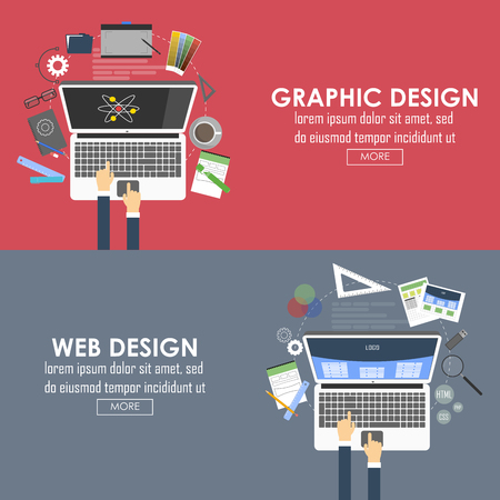 designed: Flat designed banners for graphic design and web design. Vector