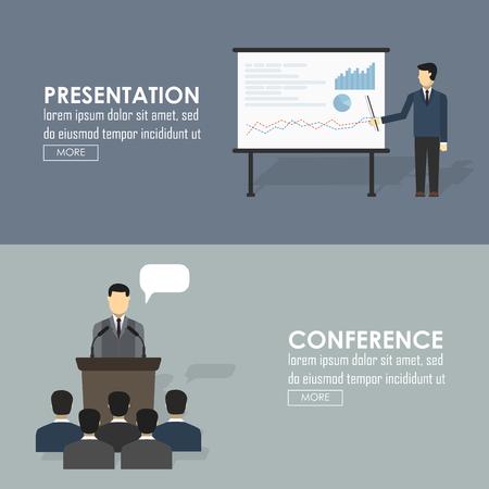 hablar en publico: Iconos planos del discurso público conjunto de debates políticos de presentación de negocios figuran discurso aislado ilustración vectorial Vectores