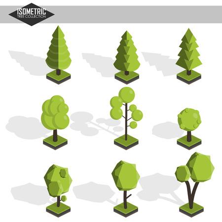 Isometric vector tree set Stock Illustratie