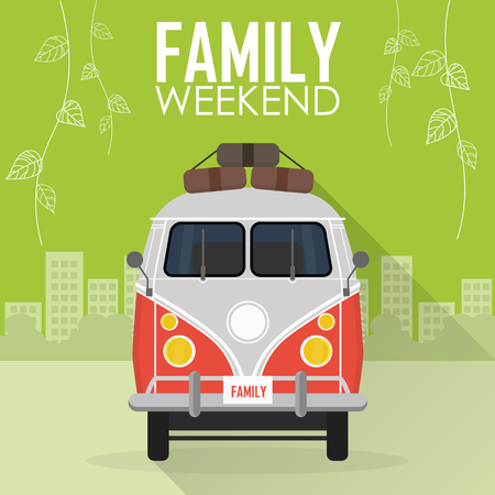 family trip: Family Vacation, Car with Luggage. vector illustration