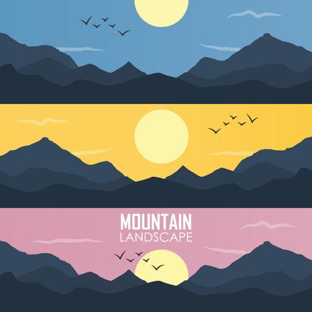 Panorama vector illustration of mountain ridges. based on the Smokey Mountains