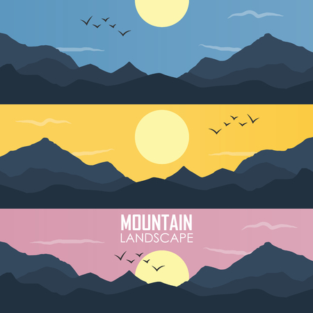 Panorama vector illustration of mountain ridges. based on the Smokey Mountains