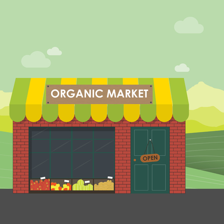 Organic market concept. Vector illustration of a store with a basket of organic vegetables and fruits. Delivery of natural products from the garden straight to the shop. Vettoriali