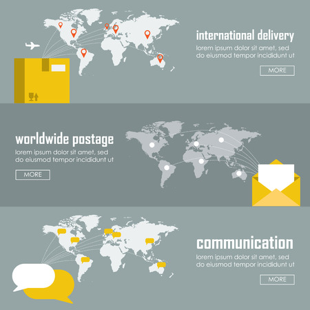 Flat logistics concept of shipping and delivery types. Web vector illustration infographic template set. Process collection: maritime shipment, airmail, ground delivery, ship, plane, aircraft, van. Ilustração
