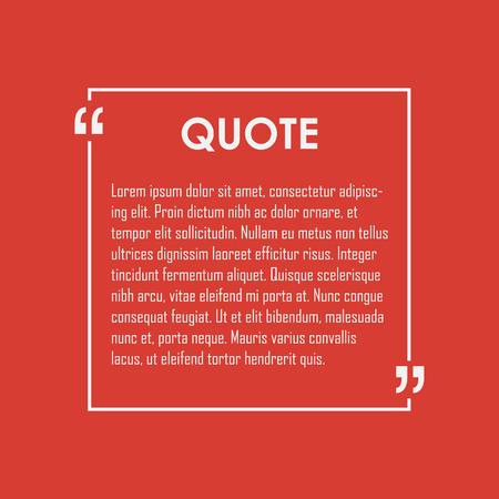Quote text bubble. Commas, note, message and comment. Design element similar to quote. Text, commas, quote and note. Motivation quote vector. Quote element design. Sport quote citation. Quote template Stock Illustratie