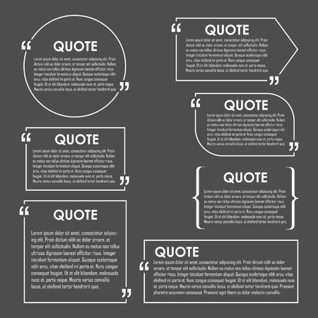Quote blank template. Quote bubble. Empty template. Circle business card template, paper sheet, information, text. Print design. Quote form. Template vector set Stok Fotoğraf - 45898891
